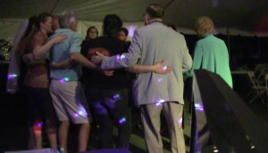 """Circle dancing to """"Thinking Out Loud"""" towards the end of the night."""